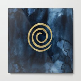 Infinity Navy Blue And Gold Abstract Modern Art Painting Metal Print
