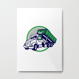 Roll-Off Bin Truck Driver Thumbs Up Circle Cartoon Metal Print