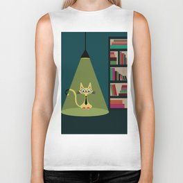 intellectual cat Biker Tank