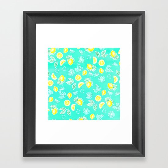 Modern summer bright yellow green lemon fruits watercolor illustration pattern on mint green by girlytrend
