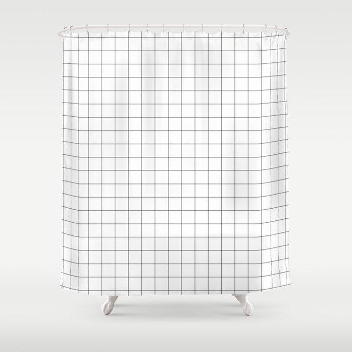 Black Grid Shower Curtain By Rodrigomffonseca