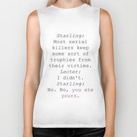 silence of the lambs Biker Tanks featuring Clarice Starling Hannibal Lecter Silence of the Lambs Movie Quote Cannibals by FountainheadLtd