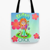 hippy Tote Bags featuring Hippy Chick by Melissa Morrison
