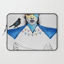 Blue Girl & Black Bird Laptop Sleeve