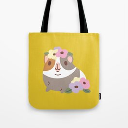 Guinea pig and flowers Tote Bag