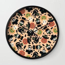 Halloween Gang Pale Orange Wall Clock