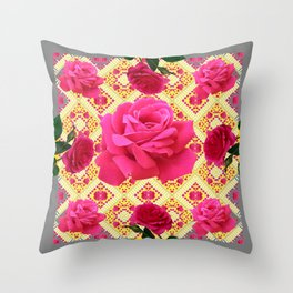 PINK GARDEN ROSES PATTERN  GREY ABSTRACT Throw Pillow