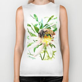 Bee and Flower, Honey Bee, chamomile herbal honey design Biker Tank