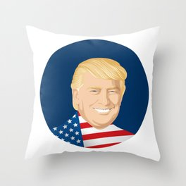 Portrait of Trump with US flag Throw Pillow