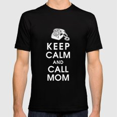 Keep Calm and Call Mom Black Mens Fitted Tee MEDIUM