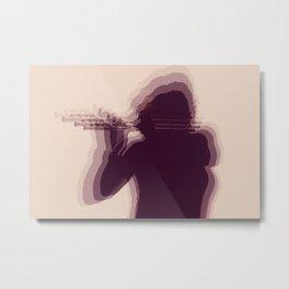 Flutist Silhouette Metal Print