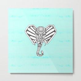 Hand Drawn Bohemian Tangle Elephant Aqua Tie Dye Metal Print