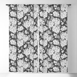 Hydrangea flowers. Black and white floral pattern Blackout Curtain