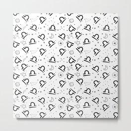 Libra zodiac sign hand drawn seamless pattern Metal Print