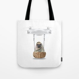 Pug Dog in a Drone Tote Bag