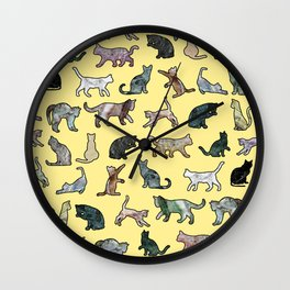 Cats shaped Marble - Sun Yellow Wall Clock