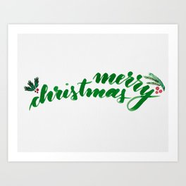 Merry Christmas - green Art Print