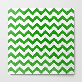 Chevron Texture (Green & White) Metal Print