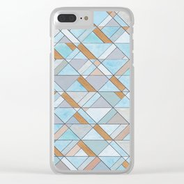 Shifting Pattern Turquoise and Gold Clear iPhone Case
