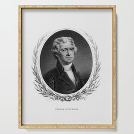 Engraving and anonymous portrait of Thomas Jefferson. Serving Tray