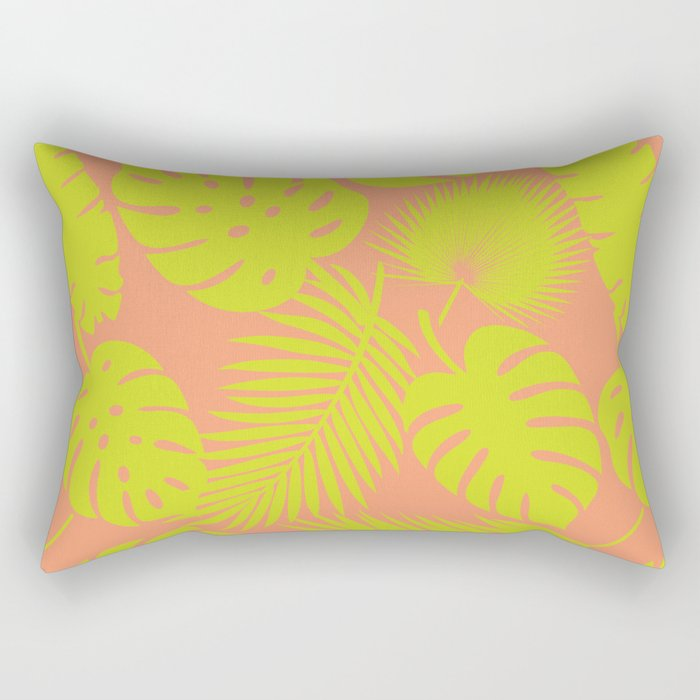 Tropical Leaves - Green on Coral Rectangular Pillow