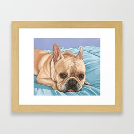 Sweet and Funny French Bulldog Painting, Frenchie Dog Portrait, Fawn French Bulldog Art Framed Art Print