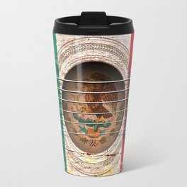Old Vintage Acoustic Guitar with Mexican Flag Travel Mug