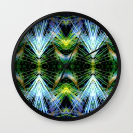 Blue Green Bright Rays,Fractal Art Wall Clock