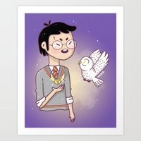 hedwig Art Prints featuring Magical friends by HypersVE