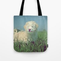 puppy Tote Bags featuring PUPPY  by Monika Strigel
