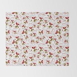 Good luck cat pattern/ red Maneki-neko Throw Blanket