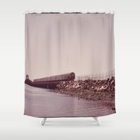 jamaica Shower Curtains featuring NEW YORK SUBWAY IS ABOVE GROUND WHEN IT CROSSES JAMAICA BAY AREA by [£13]