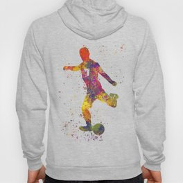 Soccer player isolated 03 in watercolor Hoody