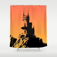 castle Shower Curtains featuring Castle by Julia Badeeva
