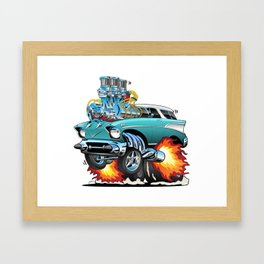 Classic Fifties Hot Rod Muscle Car Cartoon Framed Art Print