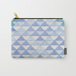 Triangle Pattern No. 9 Shifting Blue and Turquoise Carry-All Pouch