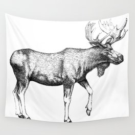 Bull Moose - Pen and Ink Wall Tapestry