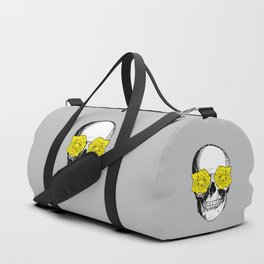 Skull and Roses | Grey and Yellow Duffle Bag