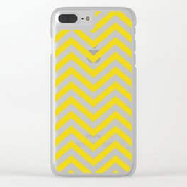 Yellow Chevron Pattern Clear iPhone Case