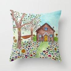 Spring Cabin Throw Pillow