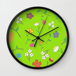 Background - floral seamless with a variety of flowers Wall Clock
