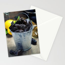 Fresh  mussels ready for cooking on wooden background Stationery Cards