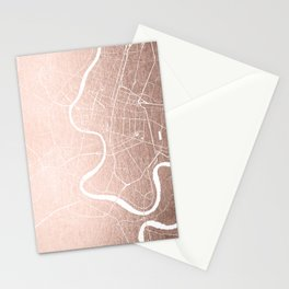 Bangkok Thailand Minimal Street Map - Rose Gold Pink and White II Stationery Cards