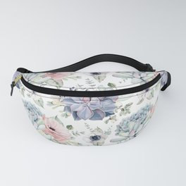 Succulents Blue + Rose Pink on White Fanny Pack