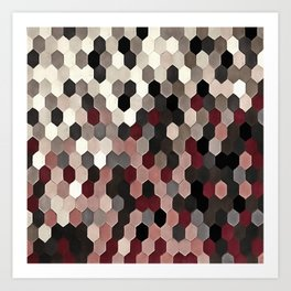 Hexagon Pattern In Gray and Burgundy Autumn Colors Art Print