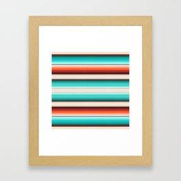 Navajo White, Turquoise and Burnt Orange Southwest Serape Blanket Stripes Framed Art Print