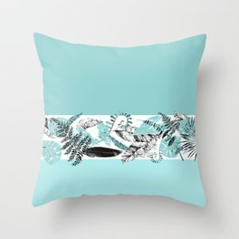 Blue and Black Tropical Foliage Throw Pillow