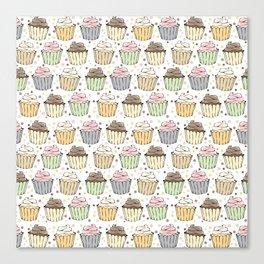 Cupcake Love Pattern -Food Pattern Canvas Print