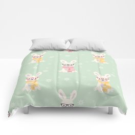White rabbit Christmas pattern 001 Comforters