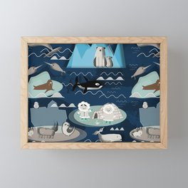 Arctic animals blue Framed Mini Art Print